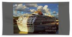 Cruise Ship In Port Beach Towel by Gary Wonning