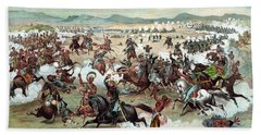 Beach Towel featuring the painting Custer's Last Stand by War Is Hell Store