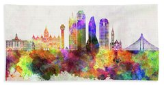 Dallas Skyline In Watercolor Background Beach Towel by Pablo Romero