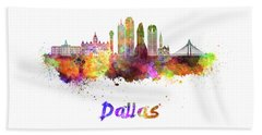 Dallas Skyline In Watercolor Beach Towel by Pablo Romero