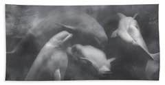 Dancing Belugas  Beach Towel by Betsy Knapp