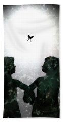 Beach Towel featuring the digital art Dancing Silhouettes by Holly Ethan