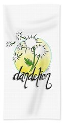 Beach Towel featuring the drawing Dandelion by Cindy Garber Iverson