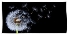 Beach Towel featuring the photograph Dandelion On Black Background by Bess Hamiti