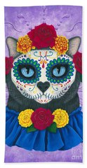 Beach Towel featuring the painting Day Of The Dead Cat Gal - Sugar Skull Cat by Carrie Hawks
