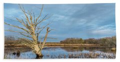 Dead Tree In Marsh Beach Towel by Greg Nyquist