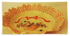 Decorated Plate With A Basket And Flowers Beach Towel