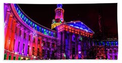 Denver City And County Building Holiday Lights Beach Towel