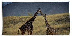 Beach Sheet featuring the photograph Desert Palm Giraffe 001 by Guy Hoffman
