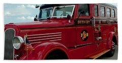 Detroit Fire Truck Beach Sheet