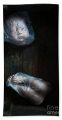 Doll Parts In Plastic Bags Beach Sheet by Lee Avison