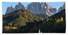 Dolomites Mountain Church Beach Towel by IPics Photography