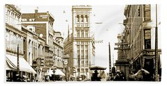 Downtown Milwaukee, C. 1915-1920, Vintage Photograph Beach Sheet
