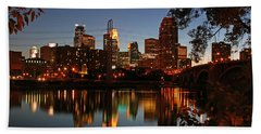 Downtown Minneapolis At Night Beach Towel