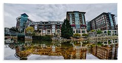 Downtown Of Greenville South Carolina Around Falls Park Beach Towel by Alex Grichenko