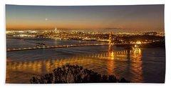 Downtown San Francisco And Golden Gate Bridge Just Before Sunris Beach Towel