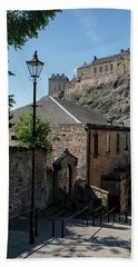 Beach Towel featuring the photograph Edinburgh Castle In Scotland by Jeremy Lavender Photography