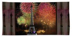 Effel Tower Paris France Landmark Photography Towels Pillows Curtains Tote Bags Beach Sheet