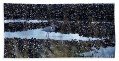 Egret In The Marsh Beach Towel