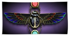 Egyptian Scarab Beetle Beach Towel by John Wills