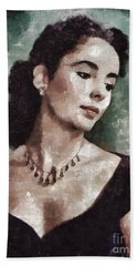 Elizabeth Taylor By Mary Bassett Beach Towel