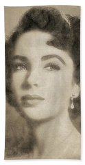 Elizabeth Taylor Hollywood Actress Beach Towel