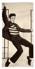 Elvis Presley In Jailhouse Rock 1957 Beach Sheet by Mountain Dreams
