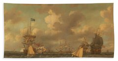 English Ships Coming To Anchor In A Fresh Breeze Beach Towel
