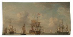 English Ships Under Sail In A Very Light Breeze Beach Towel