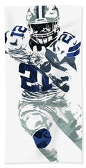 Ezekiel Elliott Dallas Cowboys Pixel Art 6 Beach Towel by Joe Hamilton