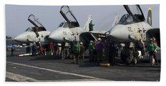F-14d Tomcats On The Flight Deck Of Uss Beach Towel