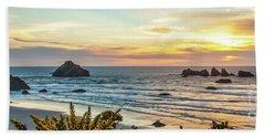 Face Rock At Sunset Beach Towel