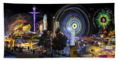 Beach Towel featuring the photograph Fairground Attraction Panorama by Ray Warren