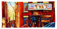 Fairmount Bagel In Winter Beach Sheet by Carole Spandau