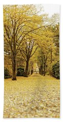 Beach Towel featuring the photograph Carpet Of Golden Leaves by Ivy Ho