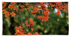 Beach Towel featuring the photograph Fall Leaves by Inge Riis McDonald