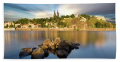 Famous Vysehrad Church During Sunny Day. Amazing Cloudy Sky In Motion. Vltava River, Prague, Czech Republic Beach Towel