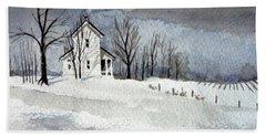 Farmhouse In Winter Beach Towel