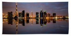 Fascinating Reflection Of Tallest Skyscrapers In Bussiness Bay D Beach Towel