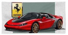 Ferrari Sergio With 3d Badge  Beach Towel