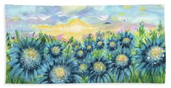 Field Of Blue Flowers Beach Sheet