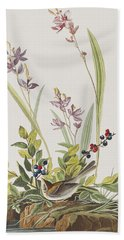 Field Sparrow Beach Towel by John James Audubon