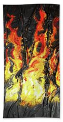 Beach Towel featuring the mixed media Fire Too by Angela Stout