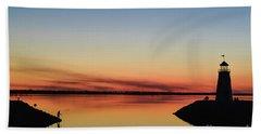 Fishing At Sunset Beach Towel