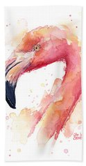 Flamingo Watercolor Beach Towel