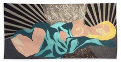 Beach Towel featuring the painting Flow by Erika Chamberlin