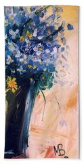 Beach Towel featuring the painting Flowers by Mikhail Zarovny