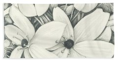 Beach Towel featuring the drawing Flowers Pencil by Melinda Blackman