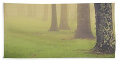 Beach Sheet featuring the photograph Foggy Trees Pano by Joye Ardyn Durham