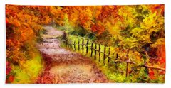 Fall Foliage Path 2 Beach Sheet